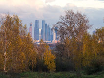 Moscow City through trees Stock Images