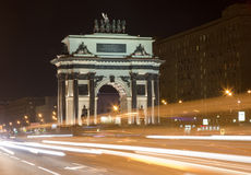 Moscow city triumphal arch in night. Moscow, Russia Stock Photos