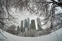 Moscow-city under snowfall stock images