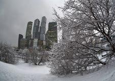 Moscow-city under snowfall stock photo