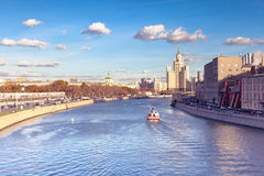 Moscow city view with Kotelnicheskaya Embankment Building. Kotelnicheskaya Embankment Building is one of seven stalinist skyscrapers located in Moscow city stock image