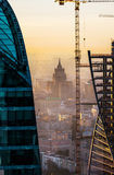 Moscow city view. Moscow city in the morning, Federation and Evolution towers view stock photo