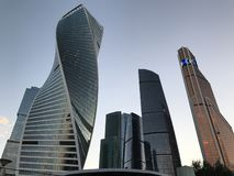Moscow City - view of skyscrapers Moscow International Business Center. Bottom view royalty free stock photography