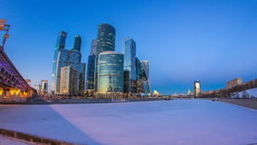 Moscow City in winter day to night timelapse. stock video