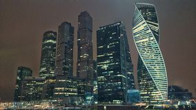 Moscow city in winter. Moscow city winter arhitecture night river stock photos