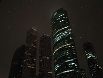 Moscow City winter night Stock Photos