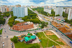 Moscow cityscape. building a temple. Michurinsky prospect Stock Images