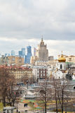 Moscow cityscape with cathedral and skyscraper Stock Image