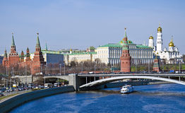 Moscow cityscape, Kremlin landmark. Moscow cityscape with Moscow river and  Kremlin, seat of government of Russia Royalty Free Stock Photography