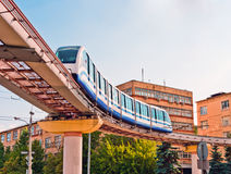 Moscow cityscape with monorail train Stock Photography