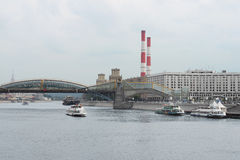 Moscow cityscape with Moscow river and bridge Stock Photo