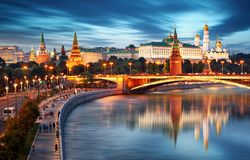 Moscow cityscape in Russia, Kremlin stock photo