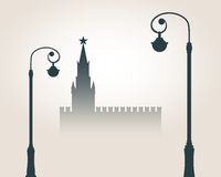 Moscow cityscape skyline. Streetlights, Spasskaya Tower of Kremlin and part of the wall in Moscow. Gradient silhouette. Greeting card illustration Stock Photography