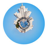 Moscow cityscape with Stalin high-rise building. Little planet - urban spherical Moscow cityscape with Stalin's high-rise building on kotelnicheskaya embankment Royalty Free Stock Photo