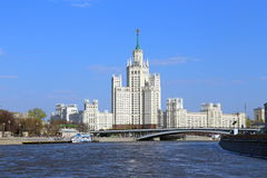 Moscow cityscape with Stalin`s high-rise residential house on Ko Stock Image