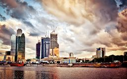 Moscow cityscape at sunset Stock Photo