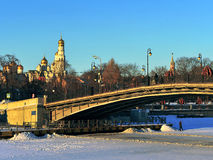 Moscow cityscape on winter Stock Images