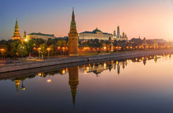 Moscow Classical. Classic view of the Moscow Kremlin in the early morning with reflections Royalty Free Stock Images