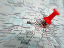 Moscow. Closeup of a red push pin in map of Moscow, Russia Royalty Free Stock Image