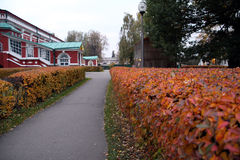 Moscow, colors of autumn the Novodevichy Convent. The courtyard of the monastery. Walkway to the Temple Royalty Free Stock Photos