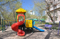 Moscow courtyard. Yard with a playground made ??of plastic Moskve.Rossiya stock photography