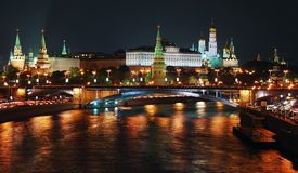 Moscow Cremlin panorama at night. View from the Moscow river embankment Stock Images
