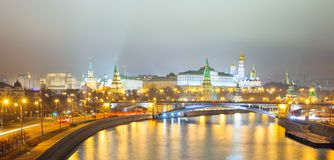 Moscow Cremlin panorama at night Stock Photography