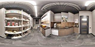 Moscow-2018: 3D bańczasta panorama z 360 stopni viewing kątem narzędzia sklepu wnętrze z ecorative płytkami, naturalny ston zdjęcie stock