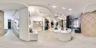Moscow - 2018: 3D spherical panorama with 360 degree viewing angle of fashionable interior of electronics store with phones. Ready. Moscow - 2018: 3D spherical royalty free stock photo