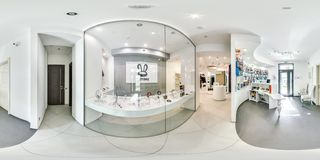 Moscow - 2018: 3D spherical panorama with 360 degree viewing angle of fashionable interior of electronics store with phones. Ready. Moscow - 2018: 3D spherical stock images