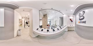 Moscow - 2018: 3D spherical panorama with 360 degree viewing angle of fashionable interior of electronics store with phones. Ready. Moscow - 2018: 3D spherical stock photo