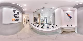 Moscow - 2018: 3D spherical panorama with 360 degree viewing angle of fashionable interior of electronics store with phones. Ready. Moscow - 2018: 3D spherical royalty free stock photos