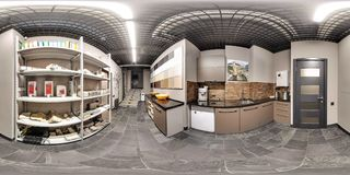 Moscow-2018: 3D spherical panorama with 360 degree viewing angle of the hardware store interior with ecorative tiles, natural ston stock photo