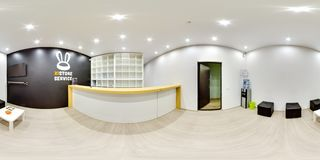 Moscow - 2018: 3D spherical panorama with 360 degree viewing angle of the interior of service center with empty shelves. Ready for stock image