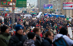 MOSCOW - DEC 24: Mass protest against election Stock Image