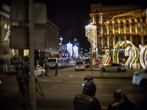 MOSCOW - DECEMBER 19, 2019: Journalists on duty on the edge of the cordoned-off Lubyanka Square immediately after the attack on