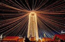 Moscow is decorated with garlands for the traditional Russian spring holiday Maslenitsa on Manezh Square. The bright lights of the night city of Moscow shine stock photo