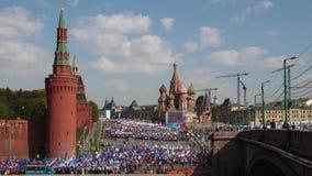 moscow Demonstration för Maj dag lager videofilmer