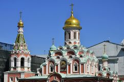 Moscow. The dome of the Kazan Cathedral on red square is an active Orthodox Church, built in memory of the liberation of Moscow fr royalty free stock photography