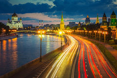 Moscow at dusk Royalty Free Stock Photography
