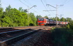 Moscow electric train on the turn of railway Royalty Free Stock Images