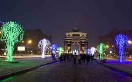 Moscow, electric trees and Triumphal arch in Christmas Royalty Free Stock Image