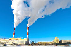 Moscow electricity plant in winter Royalty Free Stock Photography