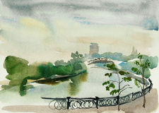 Moscow embankment watercolor art Stock Images