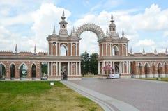 Moscow  Ensemble Tsaritsyno  Gallery-fence with a gate  Architect Bazhenov  1784-1785 Royalty Free Stock Photos