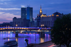 Moscow evening landscape with bridges on Moscow-river Royalty Free Stock Images