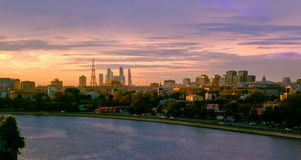 Moscow evening panorama with beautiful sunset Stock Photo