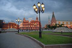 Moscow  in the evening. Russia. Moscow  Kremlin and  historical museum in the evening. View from Manege  square. Point of interest in Moscow, Russia Stock Image