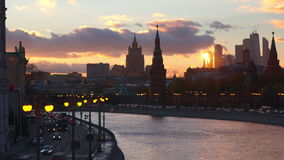 Moscow evening timelapse involving Moscow river, Kremlin and Moscow City center stock footage