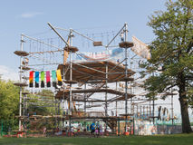Moscow Exhibition Center, high ropes park. Moscow - August 13, 2015: High-altitude high ropes course at the Exhibition of Economic Achievements in Moscow and Stock Photos